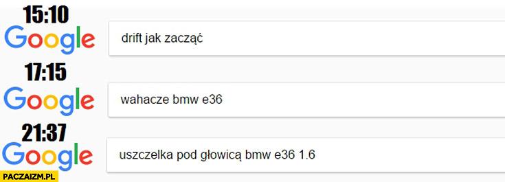 Drift jak zacząć, wahacze BMW E36, uszczelka pod głowicą BMW E36 1.6 Google googlowanie wyszukiwarka