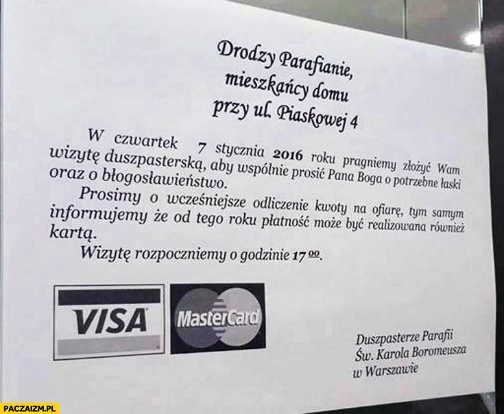 Drodzy parafianie od tego roku płatność może być realizowana kartą Visa MasterCard kartka ogłoszenie
