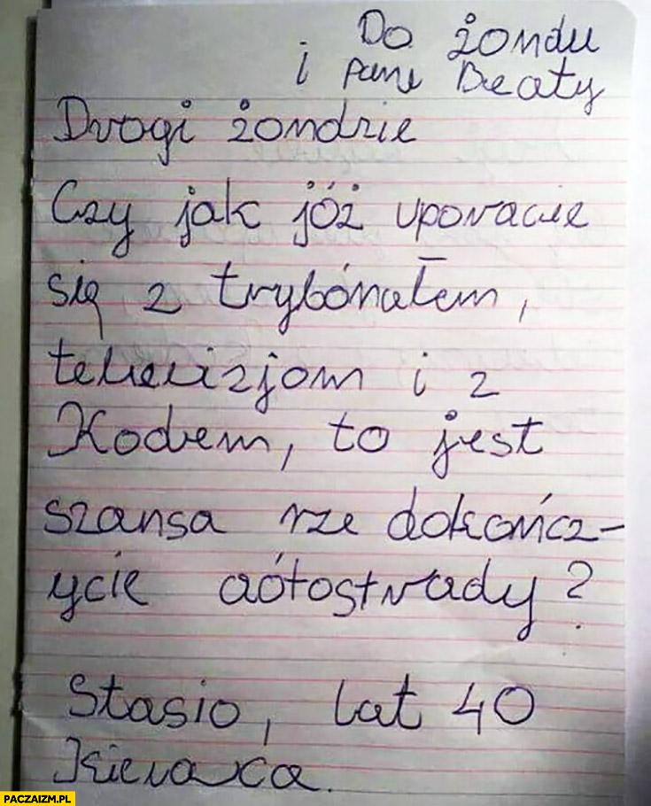 Drogi rządzie czy jest szansa, że dokończycie autostrady Stasio lat 40 kierowca dziecięce pismo