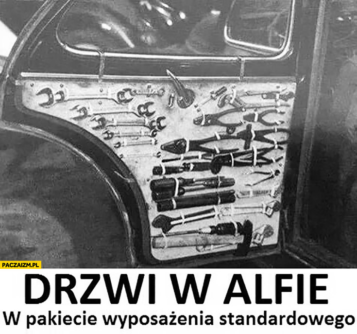 Drzwi w Alfie Romeo w pakiecie wyposażenia standardowego narzędzia do naprawy