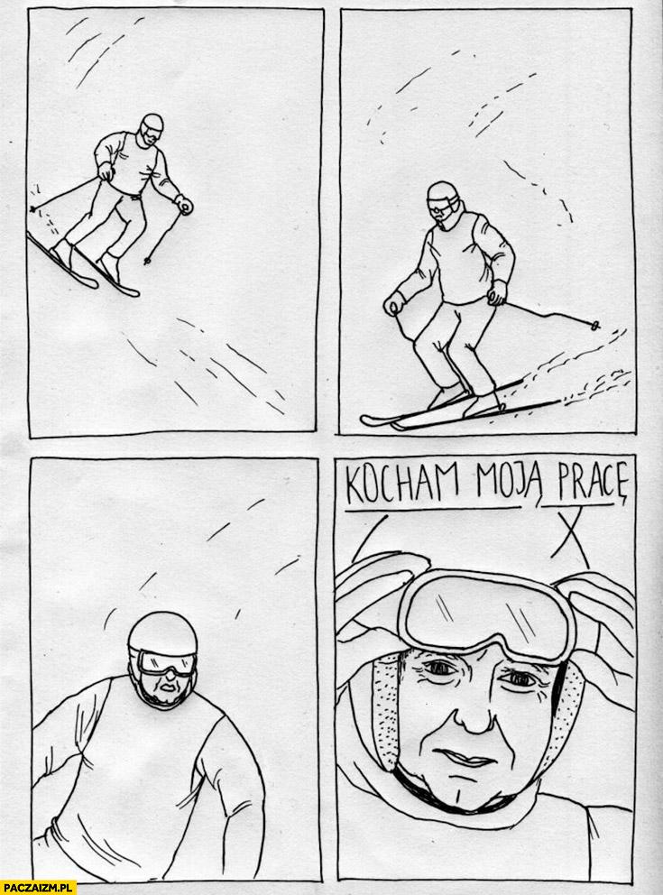 Duda jeździ na nartach szusuje kocham moja pracę komiks