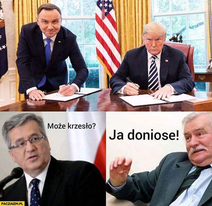 Duda u Trumpa na stojąco może krzesło ja doniosę Komorowski Wałęsa