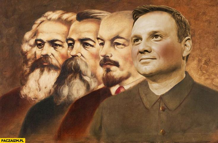 Duda z socjalistami przeróbka fotomontaż Lenin Marks