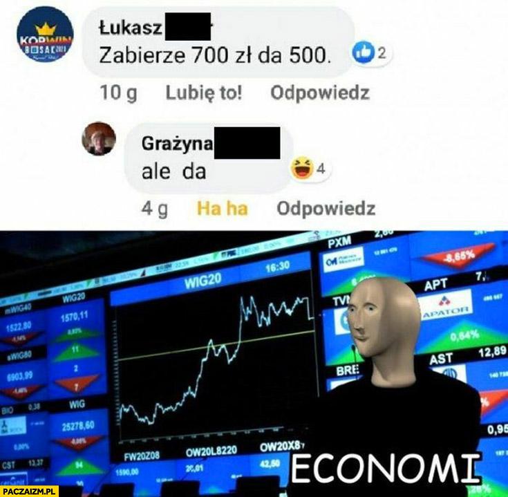 Duda zabierze 700 a da 500, ale da ekonomia
