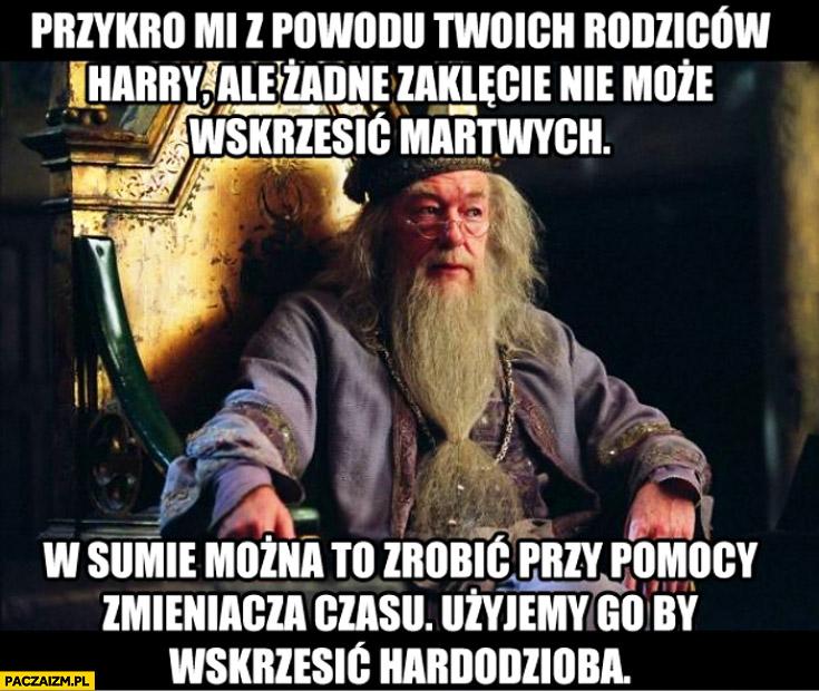 Dumbledore Harry Potter zaklęcie nie może wskrzesić rodziców można to zrobić przy pomocy zmieniacza czasu wskrzesić Hardodzioba