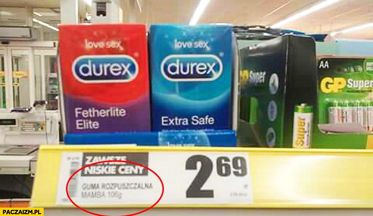 Durex guma rozpuszczalna na półce w sklepie biedronce
