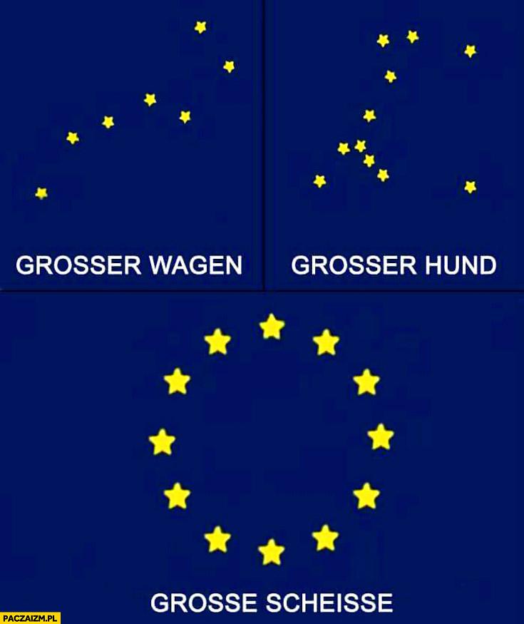 Duży wagon, duży pies, duża kupa grosse scheisse logo UE Unii Europejskiej
