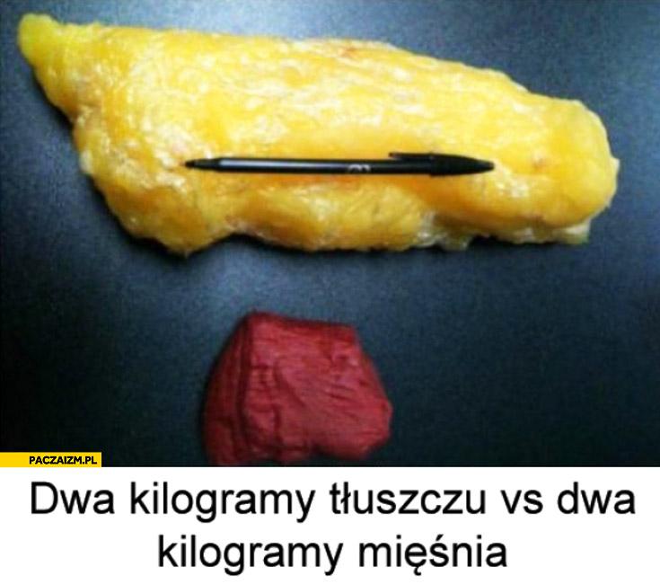 Dwa kilogramy tłuszczu vs dwa kilogramy mięśnia porównanie