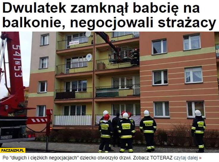 Dwulatek zamknął babcię na balkonie, negocjowali strażacy