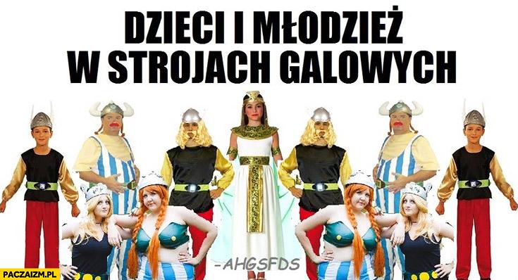 Dzieci i młodzież w strojach galowych Asteriks i Obeliks Galowie