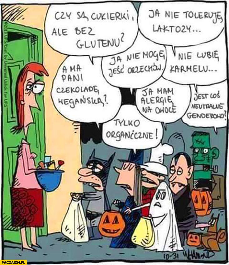 Dzieci na halloween: czy są cukierki bez glutenu, tylko organiczne, nie toleruję laktozy, czekoladę wegańska