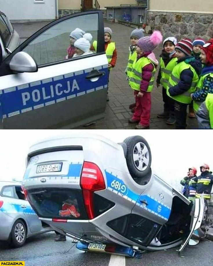 Dzieci w żółtych kamizelkach radiowóz policji wywrócony