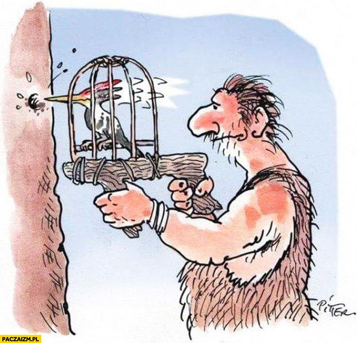 Dzięcioł w klatce prehistoryczna wiertarka rysunek