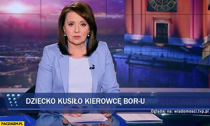 Dziecko kusiło kierowcę BORu pasek Wiadomości TVP wypadek kolumny z Andrzejem Dudą