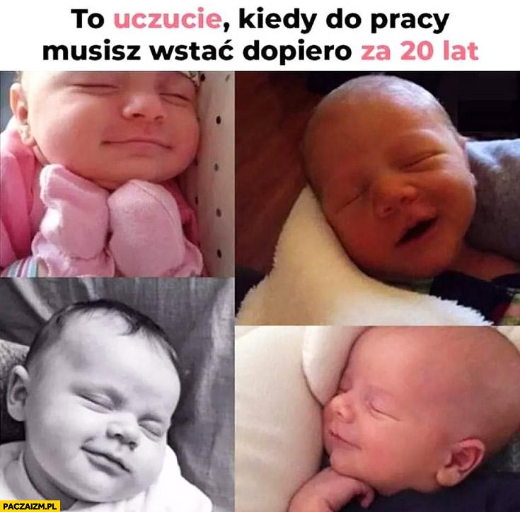 Dziecko niemowlę słodko śpi to uczucie kiedy do pracy musisz wstać dopiero za 20 lat