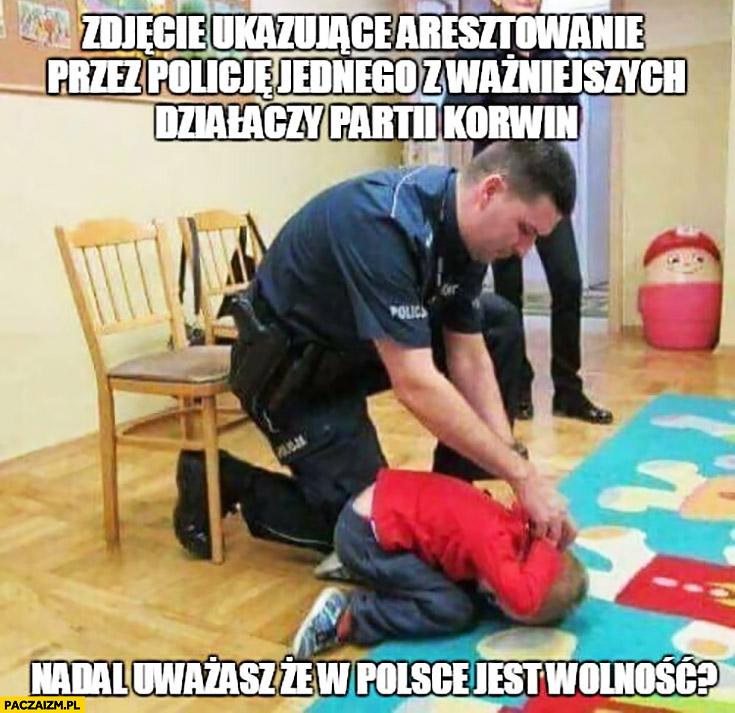 Dziecko w przedszkolu zdjęcie ukazujące aresztowanie przez policję jednego z ważniejszych działaczy partii Korwin, nadal uważasz, że w Polsce jest wolność?