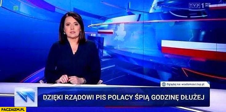 Dzięki rządowi PiS Polacy śpią godzinę dłużej pasek Wiadomości TVP