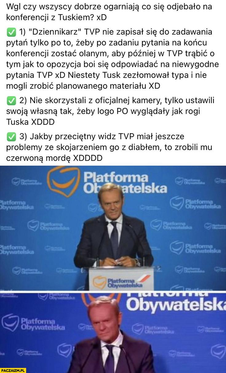 Dziennikarz TVP info zadał pytanie Tuskowi pokazali go czerwonego z rogami konferencja prasowa