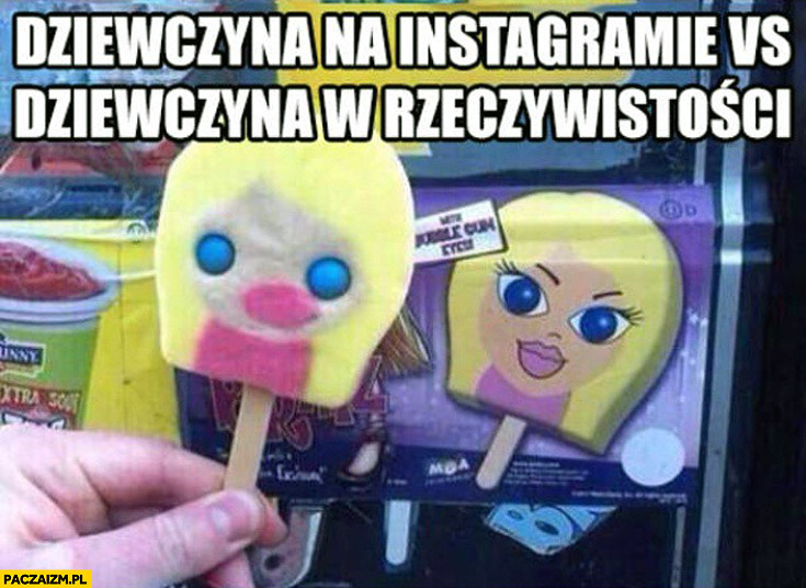 Dziewczyna na instagramie vs dziewczyna w rzeczywistości lody
