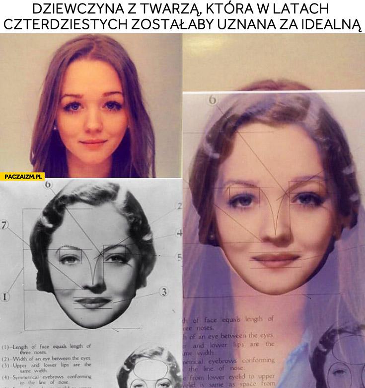 Dziewczyna z twarzą idealną w latach 40.
