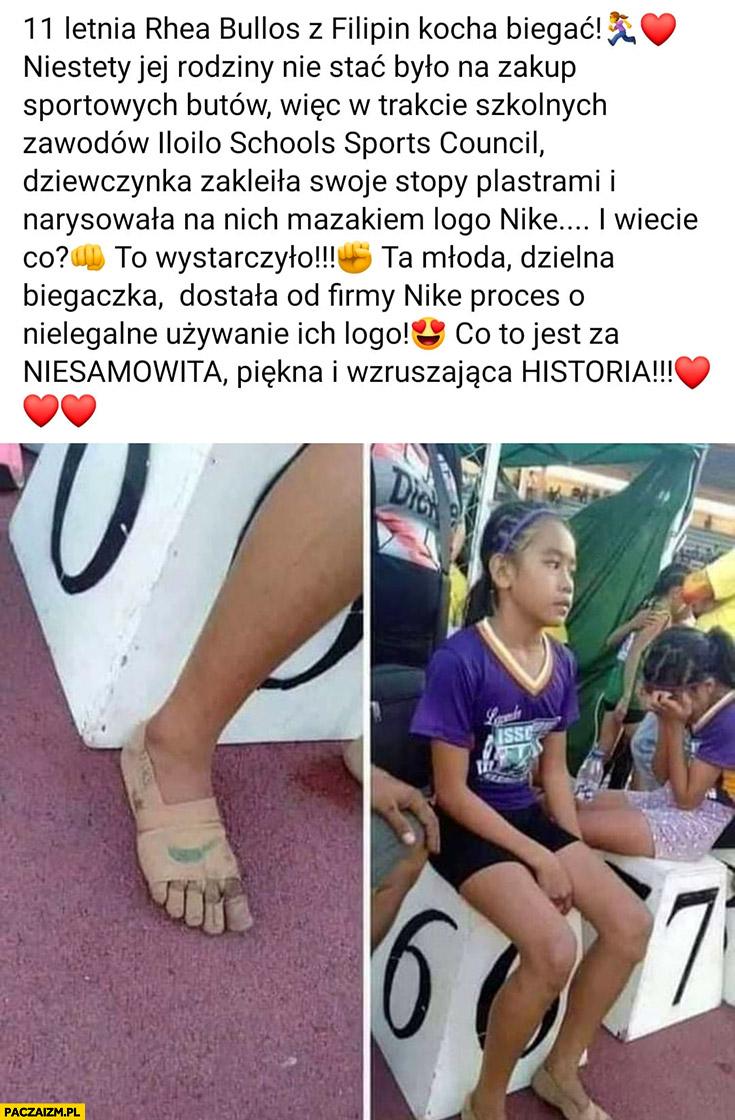 Dziewczynka kocha biegać nie stać ja na buty wiec obkleiła stopy plastrami i narysowała na nich logo Nike dostała pozew o nielegalne używanie logo wzruszająca historia