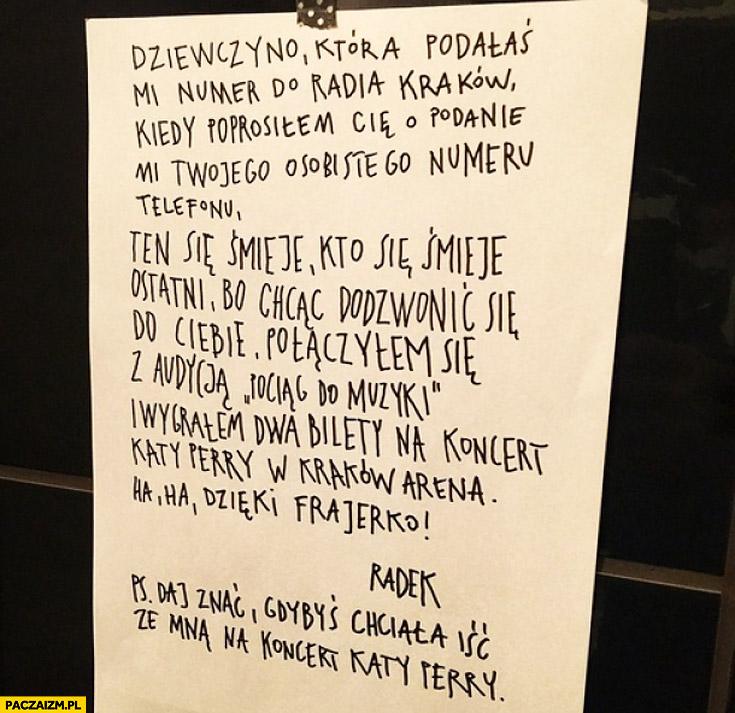 Dziewczyno która podałaś mi numer do Radia Kraków