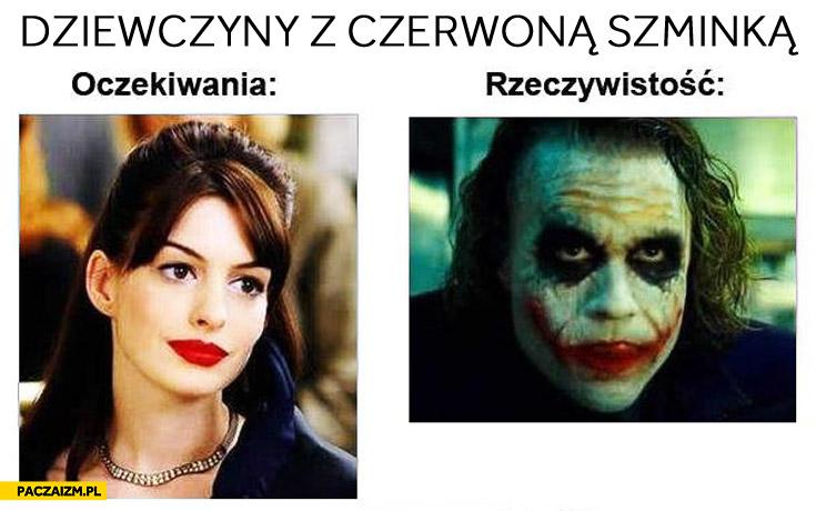 Dziewczyny z czerwoną szminką oczekiwania rzeczywistość Joker