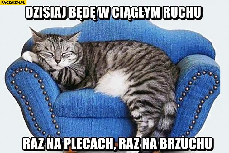 Dzisiaj będę w ciągłym ruchu raz na plecach raz na brzuchu śpiący kot