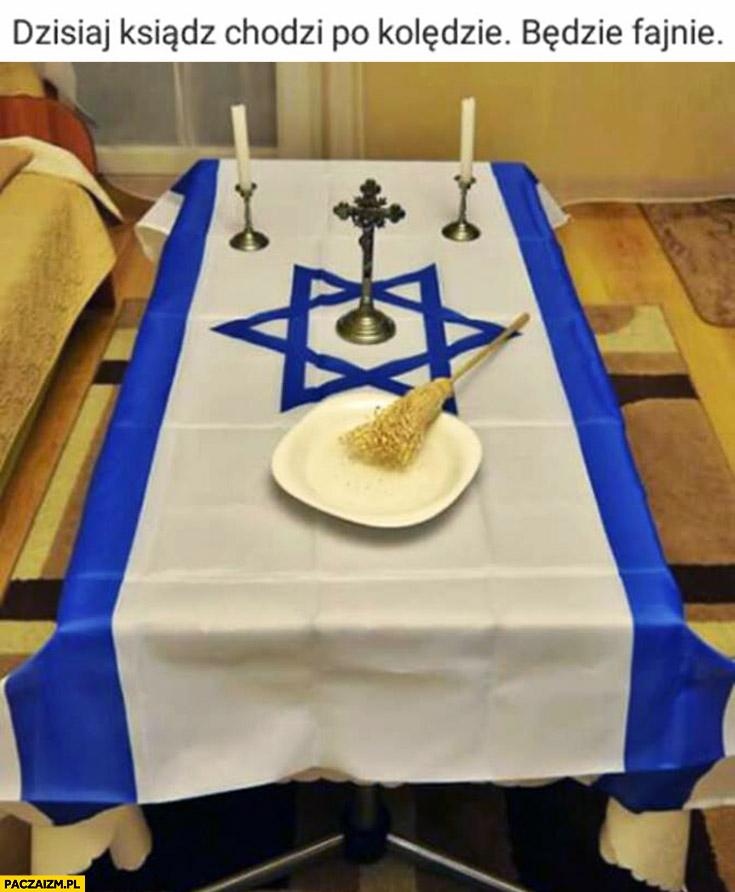 Dzisiaj ksiądz chodzi po kolędzie, będzie fajnie. Obrus flaga Izraela judaizm