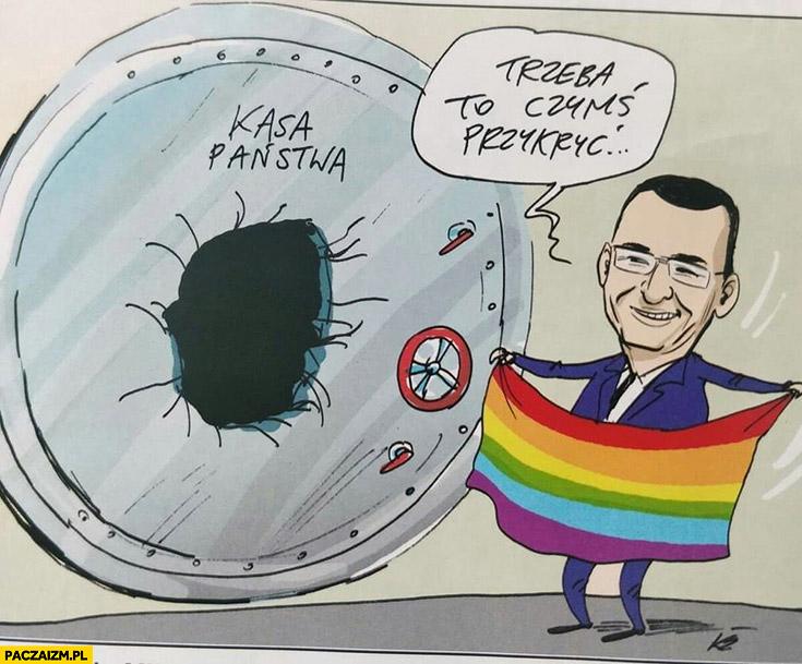 Dziura budżetowa kasa państwa Morawiecki trzeba to czymś przykryć flaga LGBT