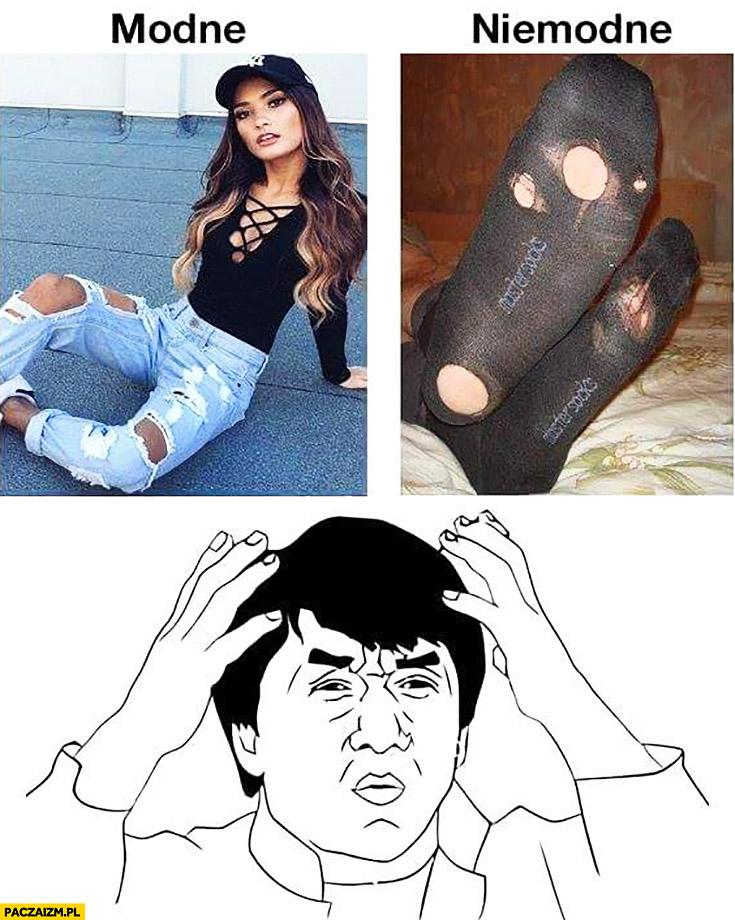 Dziury w spodniach modne vs dziury w skarpetkach niemodne porównanie
