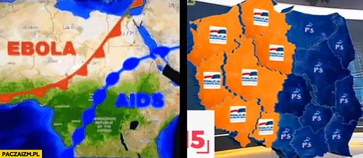 Ebola AIDS w Afryce jak PO PiS w Polsce mapa podział kraju kontynentu