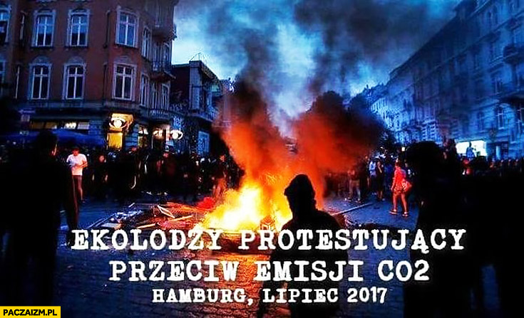 Ekolodzy protestujący przeciw emisji CO2, Hamburg lipiec 2017 pożar