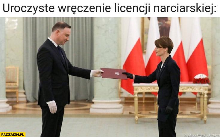 Emilewicz Euda uroczyste wręczenie licencji narciarskiej