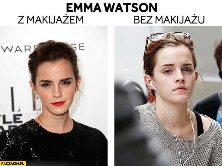 Emma Watson z makijażem i bez makijazu