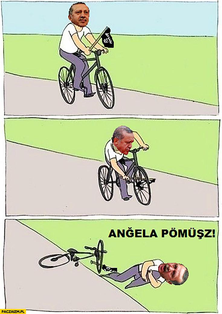 Erdogan na rowerze flaga ISIS Angela pomóż