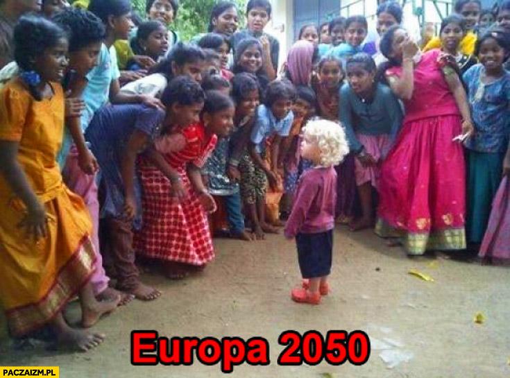 Europa 2050 chłopczyk blondyn czarne dzieci