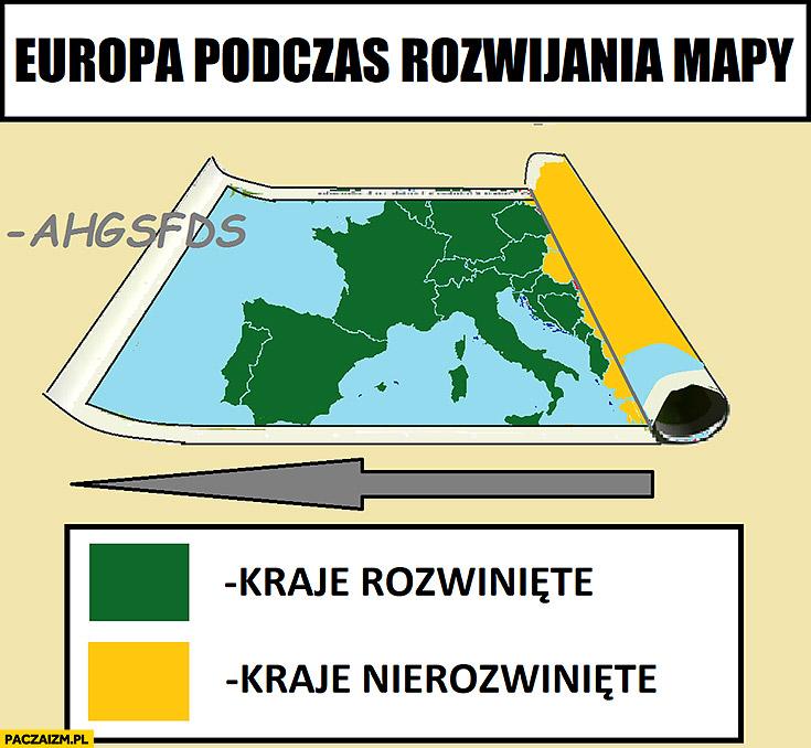 Europa podczas rozwijania mapy kraje rozwinięte nierozwinięte ahgsfds