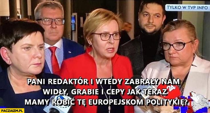 Europoslowie PiS: pani redaktor zabrały nam widły, grabie i cepy jak teraz mamy robić europejską politykę?