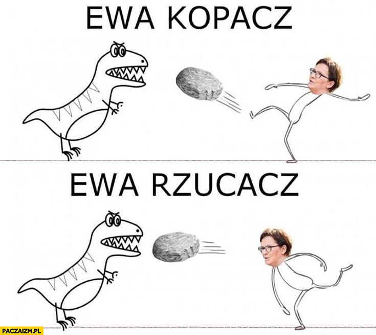 Ewa Kopacz, Ewa rzucacz kamieniem w dinozaura
