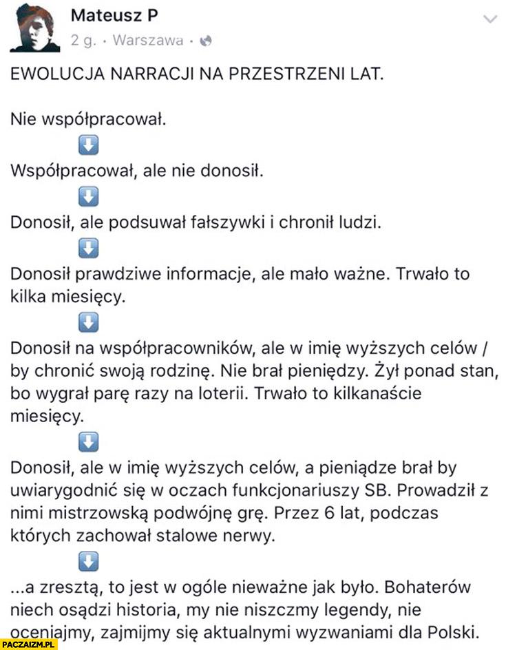 Ewolucja narracji na przestrzeni lat Lech Wałęsa TW Bolek