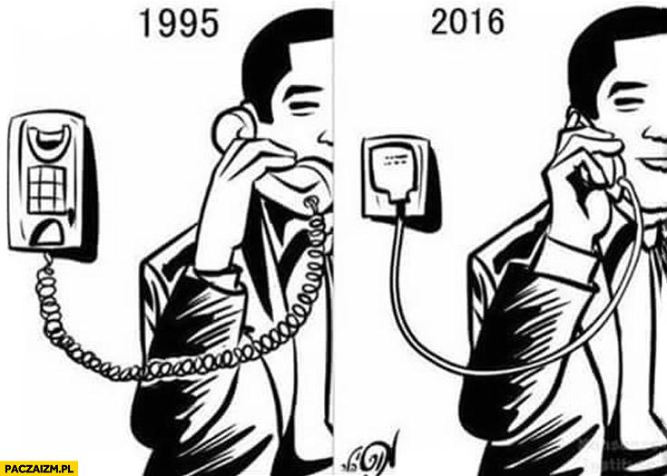 Ewolucja telefonu 1995 2016 porównanie słaba bateria