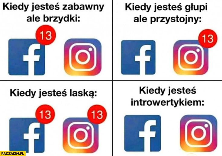 Facebook instagram powiadomienia: kiedy jesteś zabawny ale brzydki, kiedy jesteś głupi ale przystojny, kiedy jesteś laską, kiedy jesteś introwertykiem