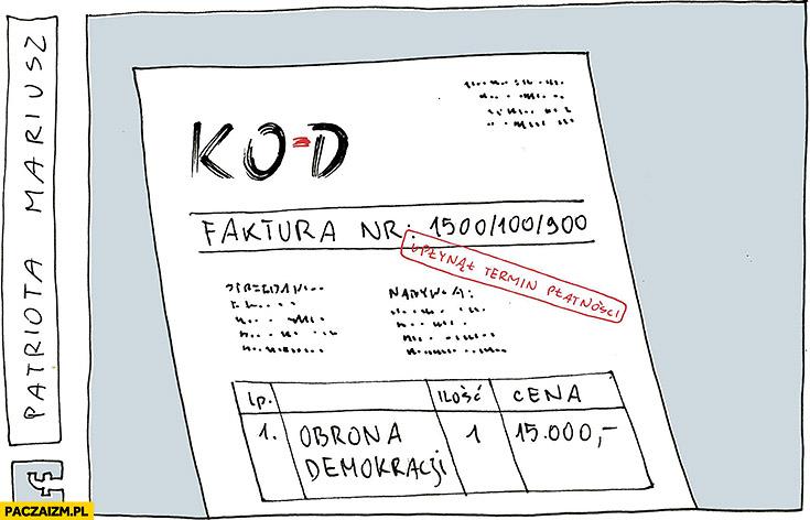 Faktura za obronę demokracji KOD Mateusz Kijowski Patriota Mariusz