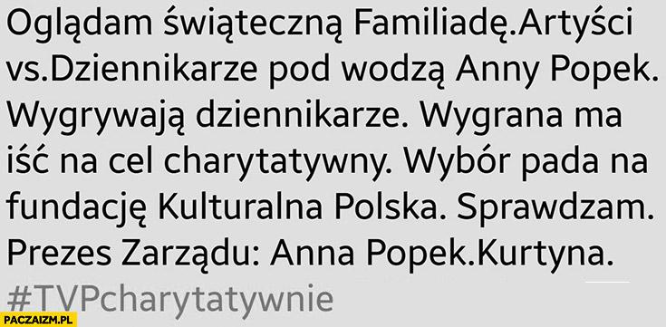 Familiada wygrywa Anna Popek wygrana na cel charytatywny fundacje Anny Popek