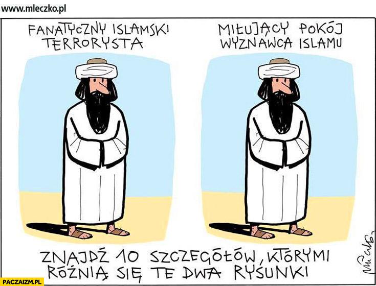 Fanatyczny islamski terrorysta, miłujący pokój wyznawca islamu znajdź 10 różnic