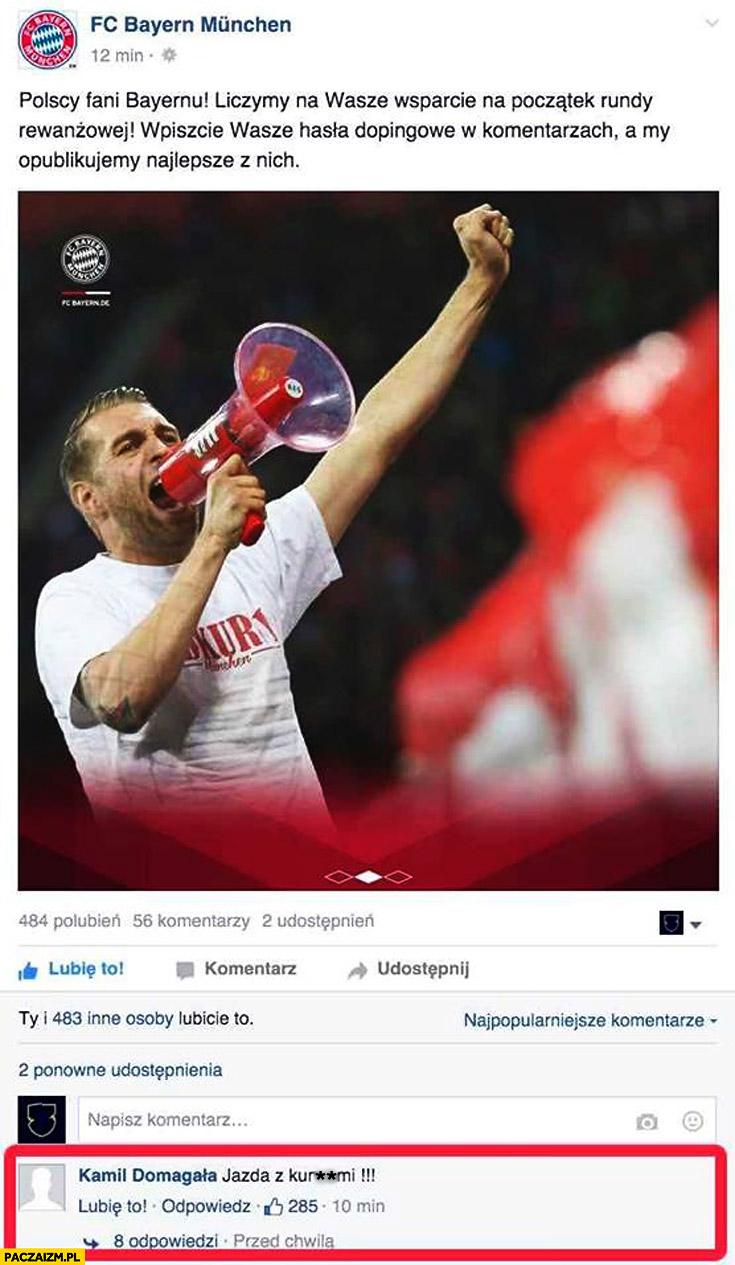 FC Bayern hasło dopingowe na facebooku jedziemy z kurnami