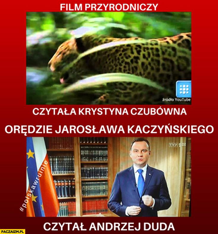Film przyrodniczy czytała Krystyna Czubówna orędzie Jarosława Kaczyńskiego czytał Andrzej Duda