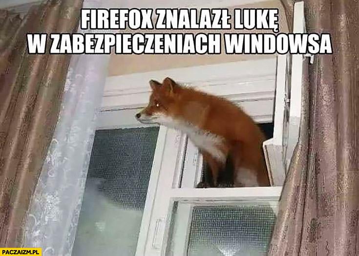 Firefox znalazł lukę w zabezpieczeniach Windowsa lis lisek w oknie wychodzi przez okno