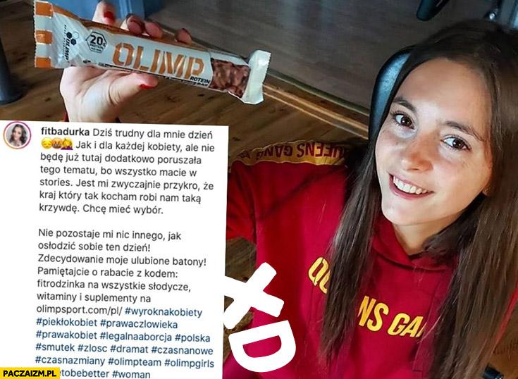 Fitbadurka baton Olimp strajk kobiet zakaz aborcji post na insta instagramie